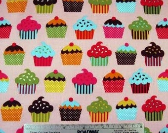 Confections CUPCAKES PINK Cupcake Fabric - Rober Kaufman Fabrics ACY-9966-10 Pink - by the Yard or Half Yard