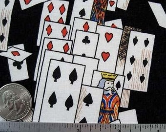 Alice In Wonderland PLAYING CARDS Black - Collection Card Quilt Fabric by the Yard, Half Yard, or Fat Quarter