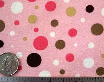 Robert Kaufman BUBBLE Polka DOT Pink And Brown Pimatex Basics Quilt Fabric by the Yard