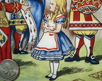 ALICE in WONDERLAND Blue Pictures Quilt Fabric by the Yard RARE and Out of Print