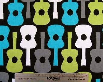 Michael Miller GROOVY GUITARS Lagoon Black Grey Lime White Quilt Fabric Sold by the Yard, Half Yard, or Fq Fat Quarter Guitar