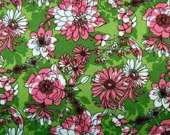 Pink Green Fabric - GLAM GARDEN FLORAL Mod Flowers Quilt Fabric by the Yard Robert Kaufman
