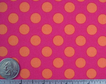 Rare TA DOT Bubblegum - Quilt Fabric by the Half Yard, or Fat Quarter Fq - Michael Miller Polka Dot Orange Fuchsia Pink