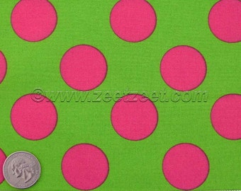 Lime Green Hot Pink Large Polka Dot Kokka CANDY PARTY Lime Fuchsia Quilt Fabric 1 Yard - Imported Japanese