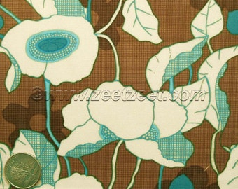 RARE Robert Kaufman KITSCHY KITCHEN Poppy - Brown, Aqua, Turquoise, Quilt Fabric by the Yard
