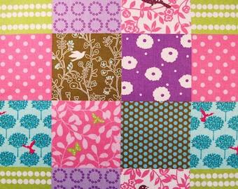Sale - Echino PATCHWORK, PINK/PURPLE Cotton Linen Japanese Fabric - Home Dec Weight