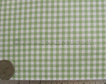 """GINGHAM CHECK 1/8"""" Celery Green Natural Cotton Quilt Fabric - by the Yard (16 colors available)"""