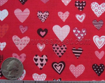 Rare Little Bit O Love - Alexander Henry - Love Hearts Red Quilt Fabric Fat Quarter Fq Valentine Heart Pink