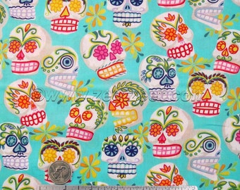 """MINI CALAVERAS Turquoise Alexander Henry Sugar Skulls """"Day of the Dead"""" Quilt Fabric by the Yard"""