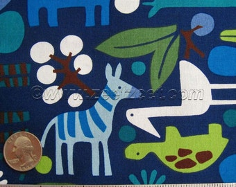 Alexander Henry 2-D ZOO NAVY Blue Mod Animals Quilt Fabric by the Yard, Half Yard, or Fat Quarter