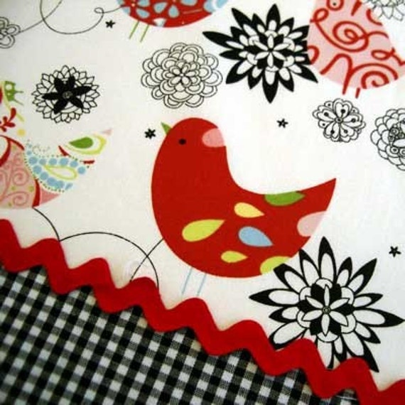 Alexander Henry STARLING WHITE RED Bird Birds Quilt Fabric - Rare & Out of Print