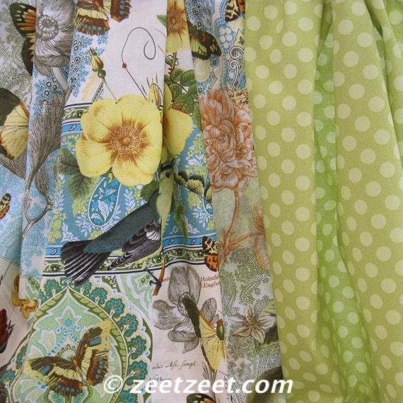 Anjou Pour Vous Birds Flowers Butterfly Yellow Fabric By