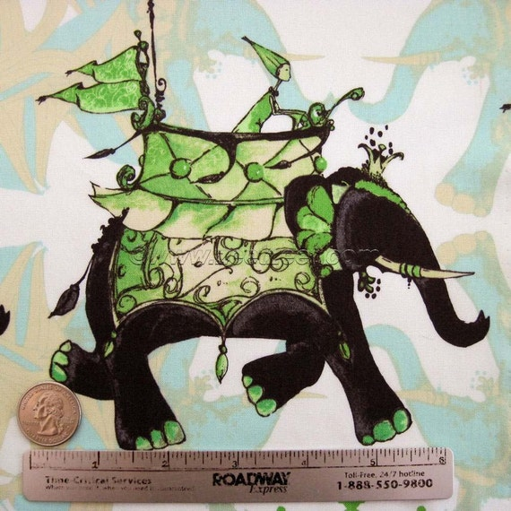 ELEPHANT RUN Lime Green - Pernilla's Journey - Tina Givens - Cloud Quilt Fabric 1 Yard