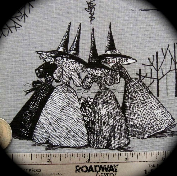 GHASTLIES Smoke Grey Alexander Henry HALLOWEEN Quilt Fabric by the Yard Gray Ghastly Witches