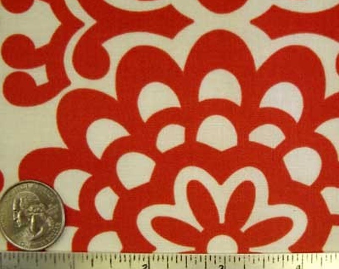Amy Butler LOTUS WALL FLOWER Cherry Red Cream Quilt Quilt Fabric - Sold in 1/2 Yard increments - Continuous Yardage.