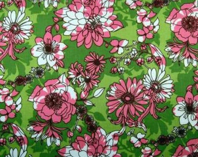 SALE Pink Green Fabric - GLAM GARDEN Floral Mod Flowers Quilt Fabric by the Yard Robert Kaufman