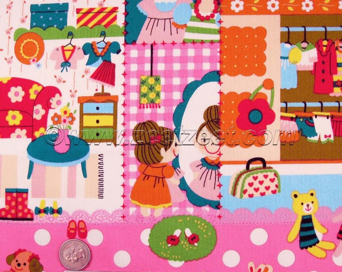 60% off SALE - Kokka PRETTY GIRL, Pink Cream, Quilt Fabric - Japanese Import - by the Yard
