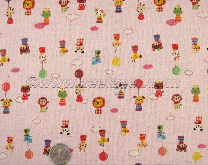 1/2 Yard Kokka MINI ANIMALS, PINK Cotton Linen Japanese Fabric - Home Dec Weight Kawaii