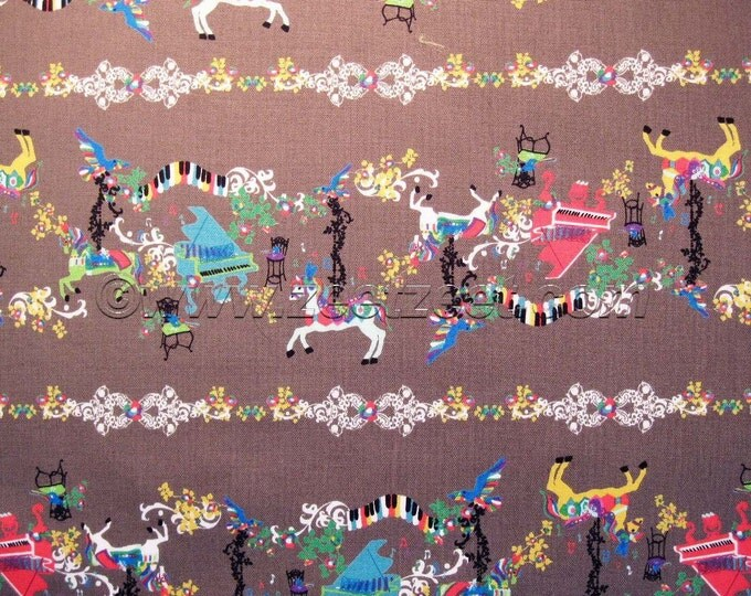 SALE Kayo Horaguchi MUSICAL CAROUSEL, Brown Cotton Linen Japanese Fabric - Home Dec Weight