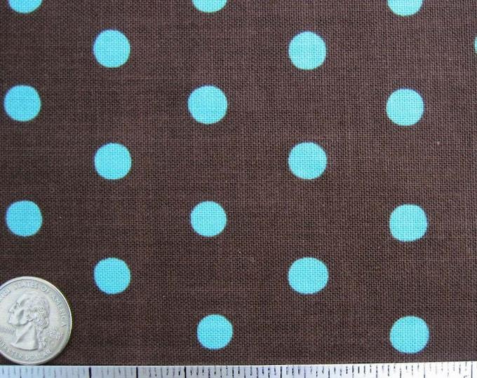 Sale 60% Off Echico POLKA DOT, Brown/Aqua or Aqua/Brown - Japanese Fabric - Home Dec Weight