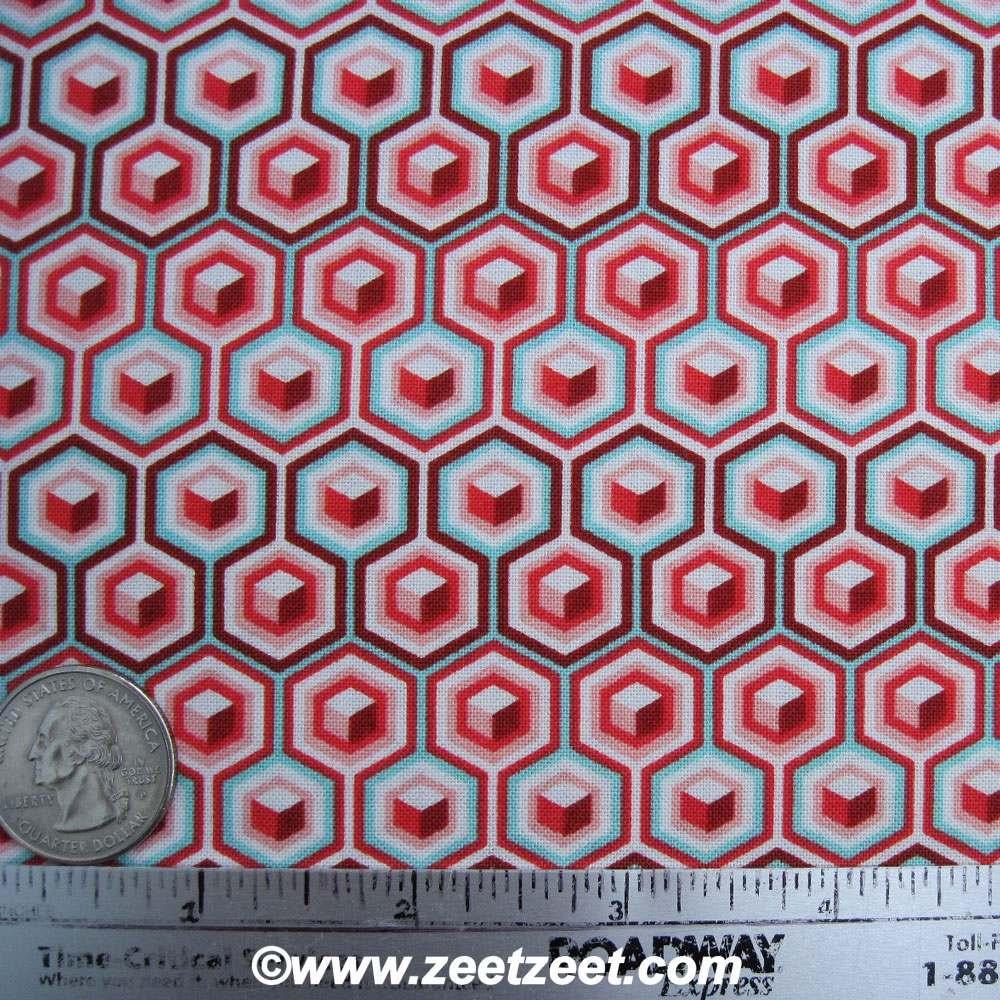 SALE HEX BLOCKS Coral Aqua Quilt Fabric 1 Yard By Zeetzeet