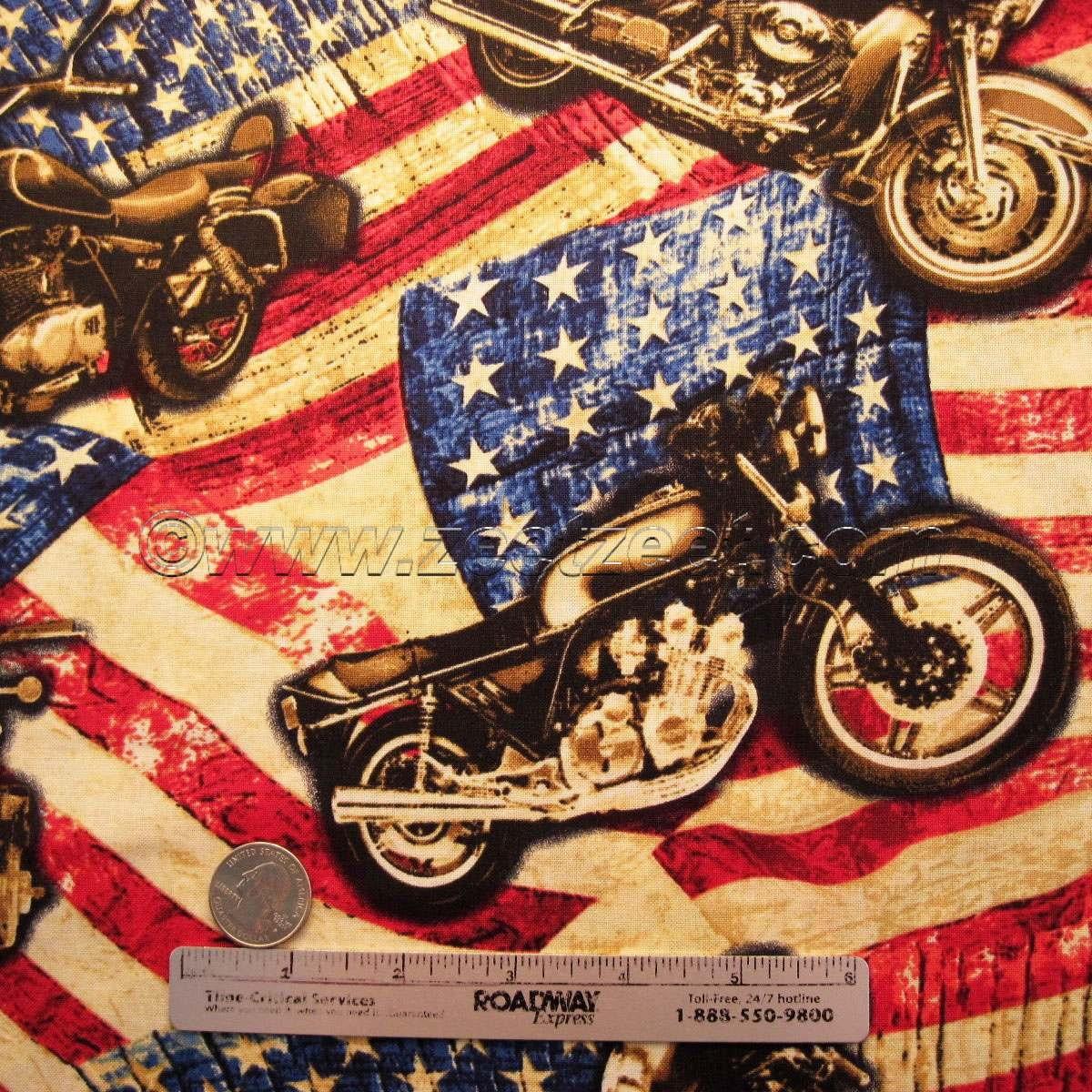 Rare Motorcycle Flag Usa Quilt Fabric 1 Yard Harley