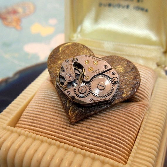 Steampunk My Heart Tick-Tocks For You Adjustable Ring