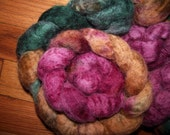Hand-dyed BFL spinning fiber roving top - Autumn Woods