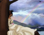 Lady art in print RAINBOW DREAMER 8x10 fine art signed