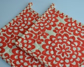 Amy Butler Potholders, Wallflowers in Cherry, Designer Potholders, Quilted Pot holders