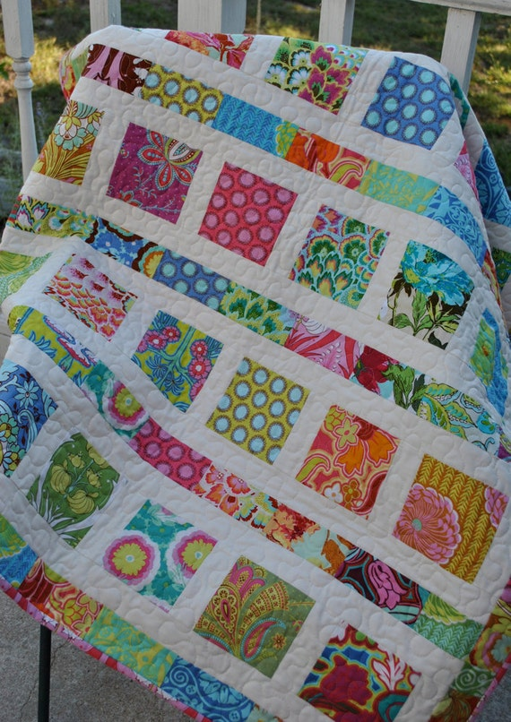 Amy Butler Soul Blossoms Baby, Toddler Quilt CUSTOM made to order, Throw, Lap Quilt