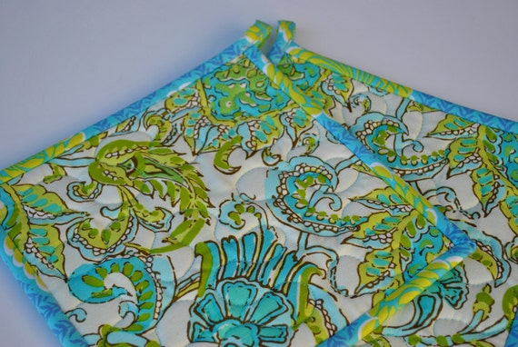 CLEARANCE  Designer Potholders, Quilted Potholders - Amy Butler Potholders