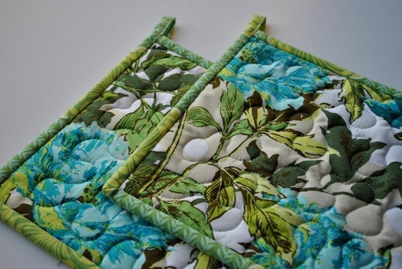Quilted Potholders, Amy Butler Contemporary Potholders, Soul Blossoms potholders