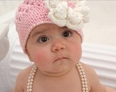 CROCHETED OPEN WEAVE BEANIE             GREAT FOR PHOTO PROPS