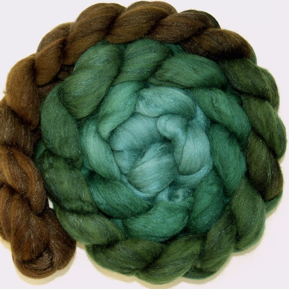 Chocolate to Dusty Teal Layered Gradient on  Merino and Silk Tops (Roving)
