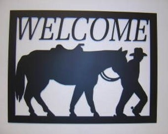 Cowboy Walking Horse Welcome Sign SALE