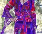 Adjani...  Patchwork Treasure Velvet Sparkles and Lace Fringed Enchantress Gown