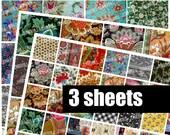 CRAZY QUILT - Digital Printable Collage Sheet - 2X2 Squares & 1X1 Squares - Antique Vintage Fabric Images, Shabby Chic, Digital Download