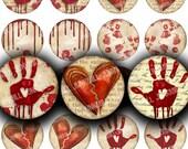 "BROKEN HEARTED - Digital Printable Collage Sheet - Dripping Blood Splatter & Handprints, Halloween Kitsch, 1"" Circles, Instant Download"