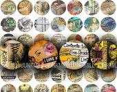 "IMAGINE - Digital Printable Collage Sheet - Vintage Grunge Sampler, Anatomy, Pin-Ups, Zombies, Occult, 1"" Circle, 25 mm, Instant Download"