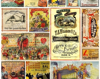 CURIOSITY CARDS - Digital Printable Collage Sheet - Vintage Circus, Antique Apothecary Labels, French Advertisements, Instant Download