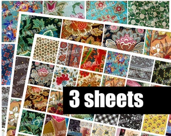 CRAZY QUILT - Digital Printable Collage Sheet - 1X1 Squares & 2X2 Squares - Antique Vintage Fabric Images, Shabby Chic, Digital Download