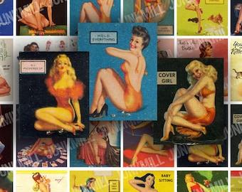 RETRO PIN-UPS - Digital Printable Collage Sheet - Vintage 1950s Pin-Up Girls, Varga Matchbook Girls, Burlesque Kitsch, Instant Download
