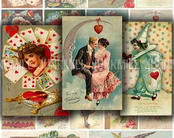 L'AMORE - Digital Printable Collage Sheet - Victorian Valentines, Kissing Couples, Vintage Postcards with Angels, Hearts  & Paper Moons