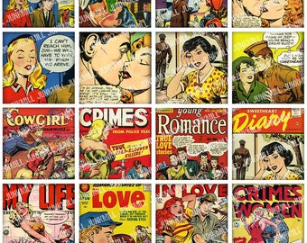 """PULP ROMANCE - Digital Printable Collage Sheet - Retro Comic Book Covers, Cartoon Pin-Up Girls, 1"""" Square or Scrabble Tile, Instant Download"""