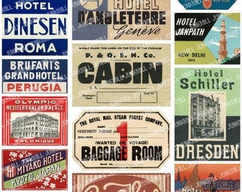STEAMTRUNK I - Digital Printable Collage Sheet - Vintage Suticase Luggage Labels, European Travel Souvenirs, Instant Download