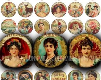 "HUMIDOR - Digital Printable Collage Sheet - Vintage Rococo Cigar Box Labels, Pretty Victorian Women, 1"" Circles, Instant Download"