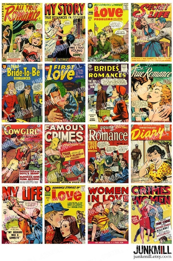 PULP ROMANCE - Digital Printable Collage Sheet - Vintage Comic Book Cover Pin-Ups, Retro Pulp Fiction, 1950s, Instant Download