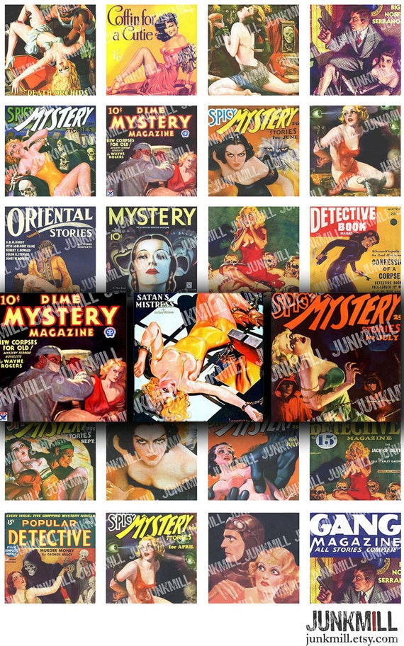 """MYSTERY NOIR - Digital Printable Collage Sheet - Retro Pulp Fiction, Vintage Pin-Up Girls, 1"""" Square or Scrabble Tile, Instant Download"""