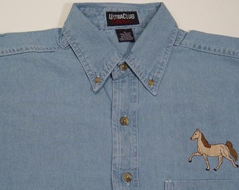 SALE - SMALL Tennessee Walker Horse Embroidered Long Sleeve Light Blue Denim Shirt - Price Embroidery Apparel